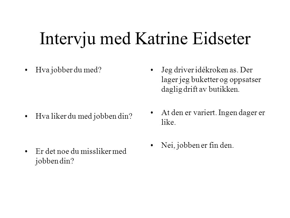 Intervju med Katrine Eidseter •Hva jobber du med? •Hva liker du med jobben din? •Er det noe du missliker med jobben din? •Jeg driver idékroken as. Der