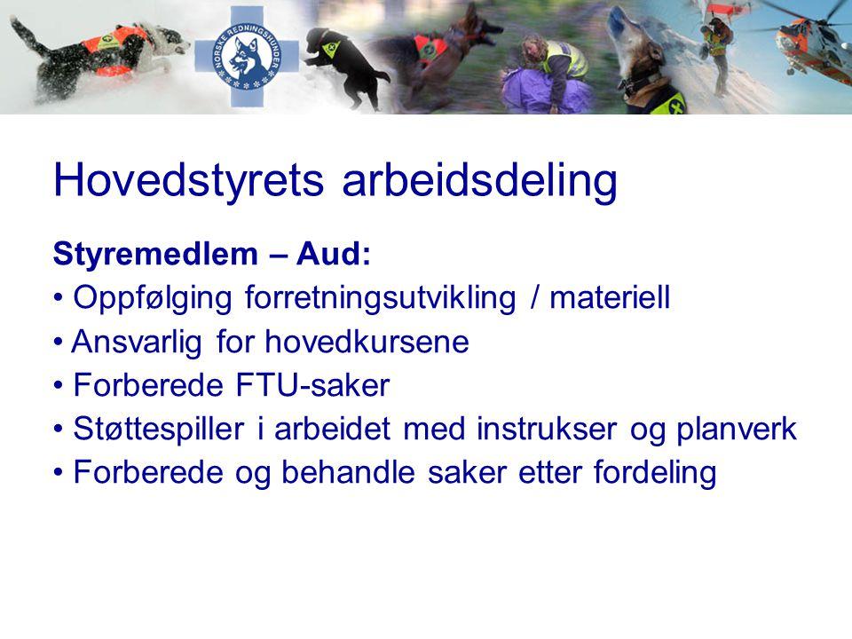 Hovedstyrets arbeidsdeling Styremedlem – Aud: • Oppfølging forretningsutvikling / materiell • Ansvarlig for hovedkursene • Forberede FTU-saker • Støtt