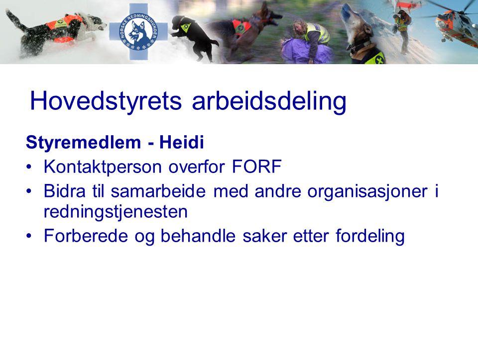 Hovedstyrets arbeidsdeling Styremedlem - Heidi •Kontaktperson overfor FORF •Bidra til samarbeide med andre organisasjoner i redningstjenesten •Forbere