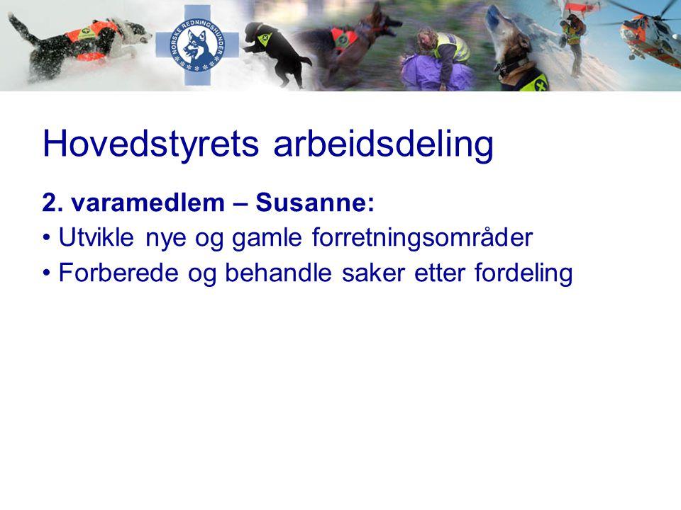 Hovedstyrets arbeidsdeling 2. varamedlem – Susanne: • Utvikle nye og gamle forretningsområder • Forberede og behandle saker etter fordeling