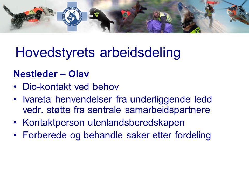 Hovedstyrets arbeidsdeling Nestleder – Olav •Dio-kontakt ved behov •Ivareta henvendelser fra underliggende ledd vedr. støtte fra sentrale samarbeidspa