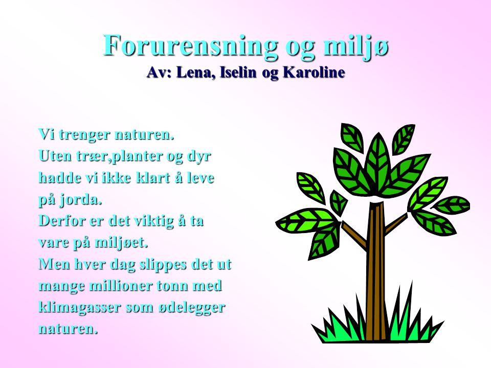 Forurensning og miljø Av: Lena, Iselin og Karoline Vi trenger naturen. Uten trær,planter og dyr hadde vi ikke klart å leve på jorda. Derfor er det vik