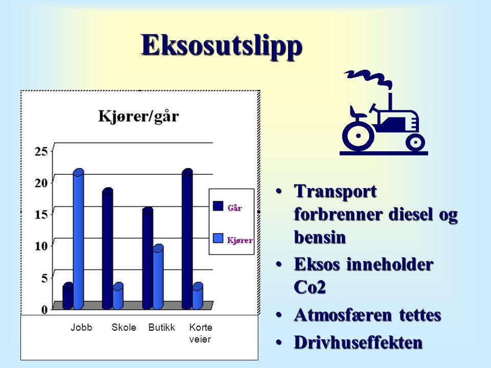 Eksosutslipp •Transport forbrenner diesel og bensin •Eksos inneholder Co2 •Atmosfæren tettes •Drivhuseffekten Korte veier ButikkSkoleJobb