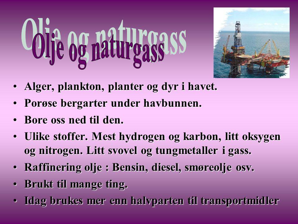 •Alger, plankton, planter og dyr i havet. •Porøse bergarter under havbunnen. •Bore oss ned til den. •Ulike stoffer. Mest hydrogen og karbon, litt oksy