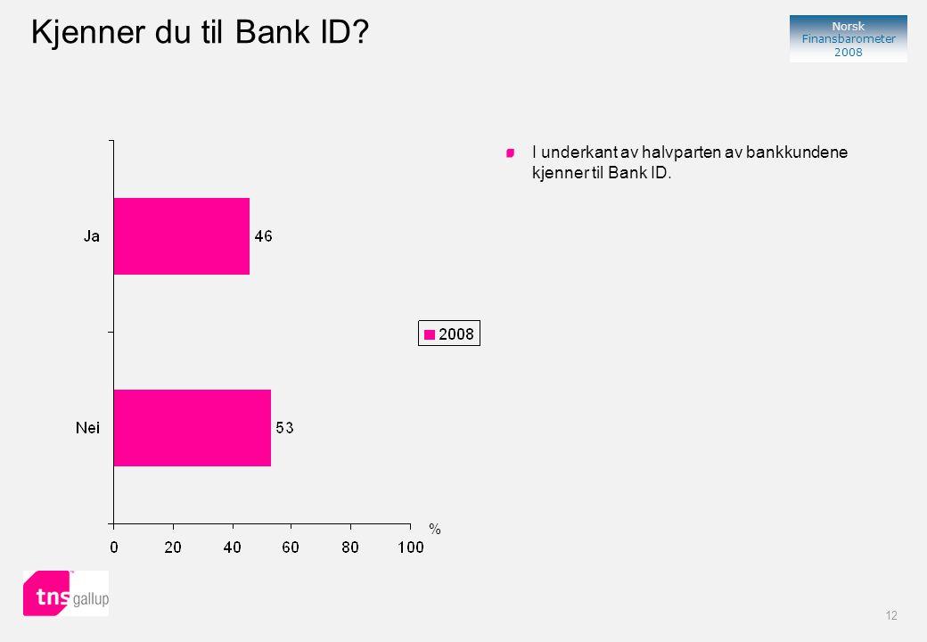 12 Norsk Finansbarometer 2008 % I underkant av halvparten av bankkundene kjenner til Bank ID.