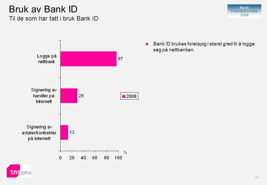 14 Norsk Finansbarometer 2008 % Bank ID brukes foreløpig i størst grad til å logge seg på nettbanken.