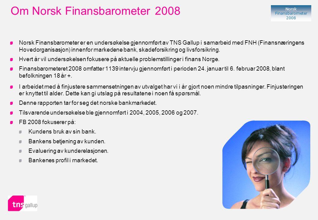 63 Norsk Finansbarometer 2008 % Indeks* * Differanse mellom helt eller delvis enig og helt eller delvis uenig, samtidig som verken enig eller uenig tillegges verdien 0 + 37 - 52 - 32 + 31 Holdninger i skadeforsikringsmarkedet i 2008 - 2 + 11 + 30 Endring i indeks* fra 2007 til 2008 + 5 + 2 + 6 + 7 + 5 + 3 - 78