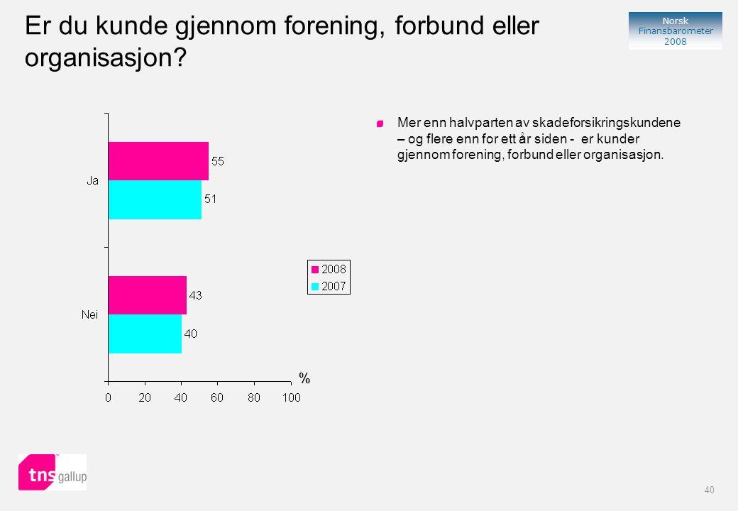 40 Norsk Finansbarometer 2008 Er du kunde gjennom forening, forbund eller organisasjon.