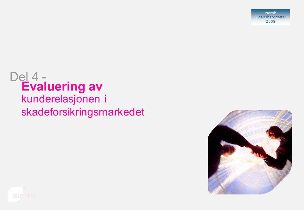 Norsk Finansbarometer 2008 Bank Evaluering av kunderelasjonen i skadeforsikringsmarkedet Del 4 -