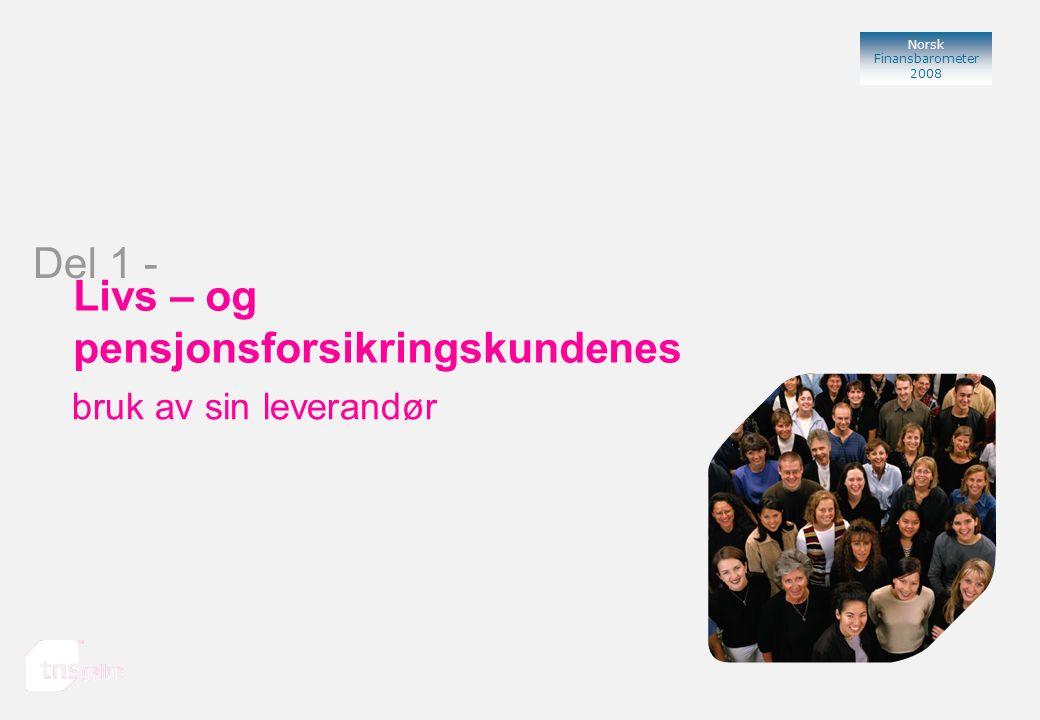 Norsk Finansbarometer 2008 Bank Livs – og pensjonsforsikringskundenes bruk av sin leverandør Del 1 -