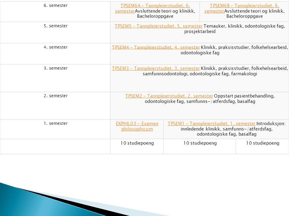 6. semester TPSEM6A - Tannpleierstudiet, 6. semesterTPSEM6A - Tannpleierstudiet, 6.