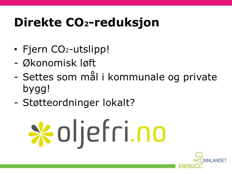 Direkte CO 2 -reduksjon • Fjern CO 2 -utslipp! -Økonomisk løft -Settes som mål i kommunale og private bygg! -Støtteordninger lokalt?