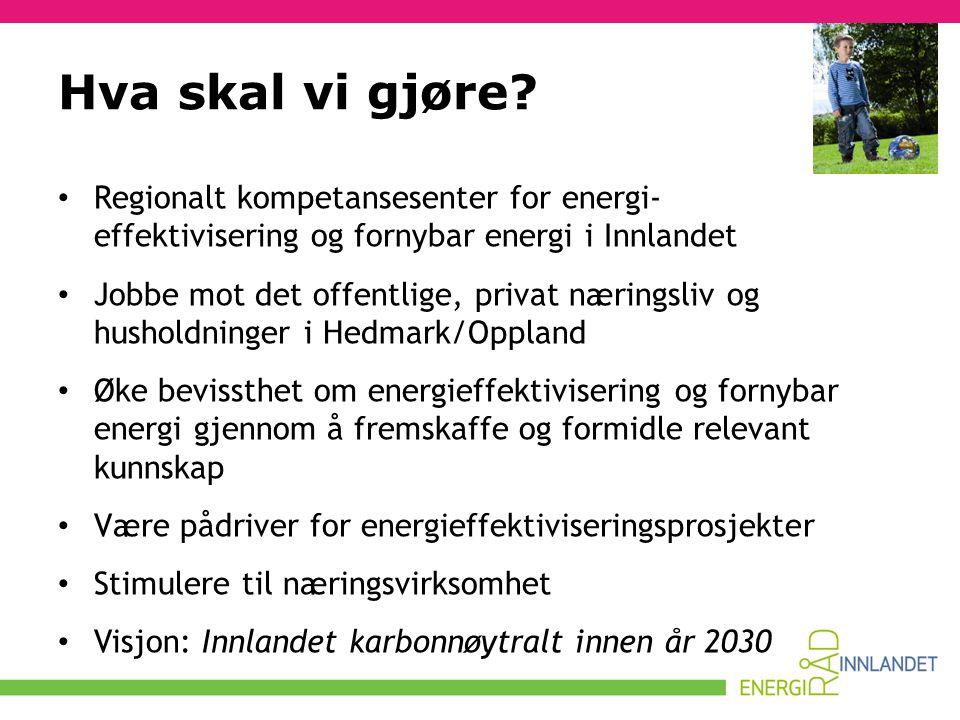 Hva skal vi gjøre? • Regionalt kompetansesenter for energi- effektivisering og fornybar energi i Innlandet • Jobbe mot det offentlige, privat næringsl