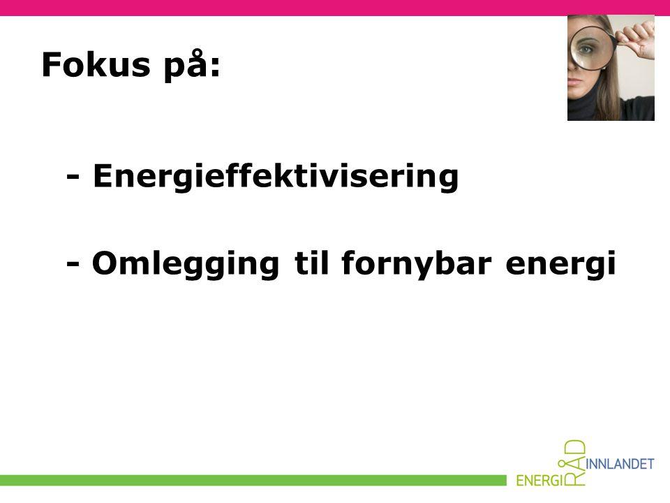 Fokus på: - Energieffektivisering - Omlegging til fornybar energi