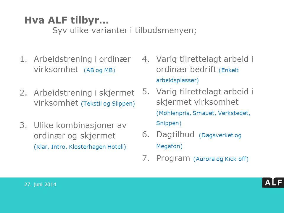 Hva ALF tilbyr… Syv ulike varianter i tilbudsmenyen; 1.Arbeidstrening i ordinær virksomhet (AB og MB) 2.Arbeidstrening i skjermet virksomhet (Tekstil