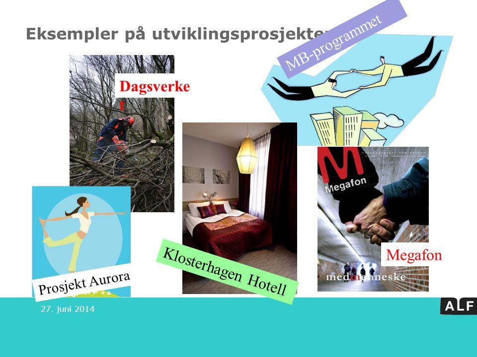 Eksempler på utviklingsprosjekter 27. juni 2014 Dagsverke t Prosjekt Aurora MB-programmet Klosterhagen Hotell Megafon
