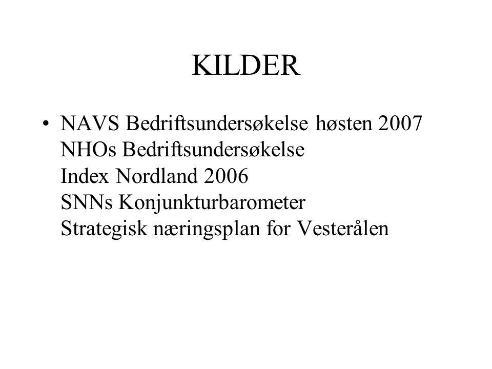 KILDER •NAVS Bedriftsundersøkelse høsten 2007 NHOs Bedriftsundersøkelse Index Nordland 2006 SNNs Konjunkturbarometer Strategisk næringsplan for Vesterålen