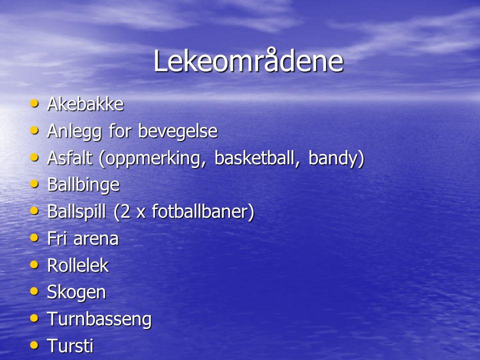 • Akebakke • Anlegg for bevegelse • Asfalt (oppmerking, basketball, bandy) • Ballbinge • Ballspill (2 x fotballbaner) • Fri arena • Rollelek • Skogen • Turnbasseng • Tursti Lekeområdene