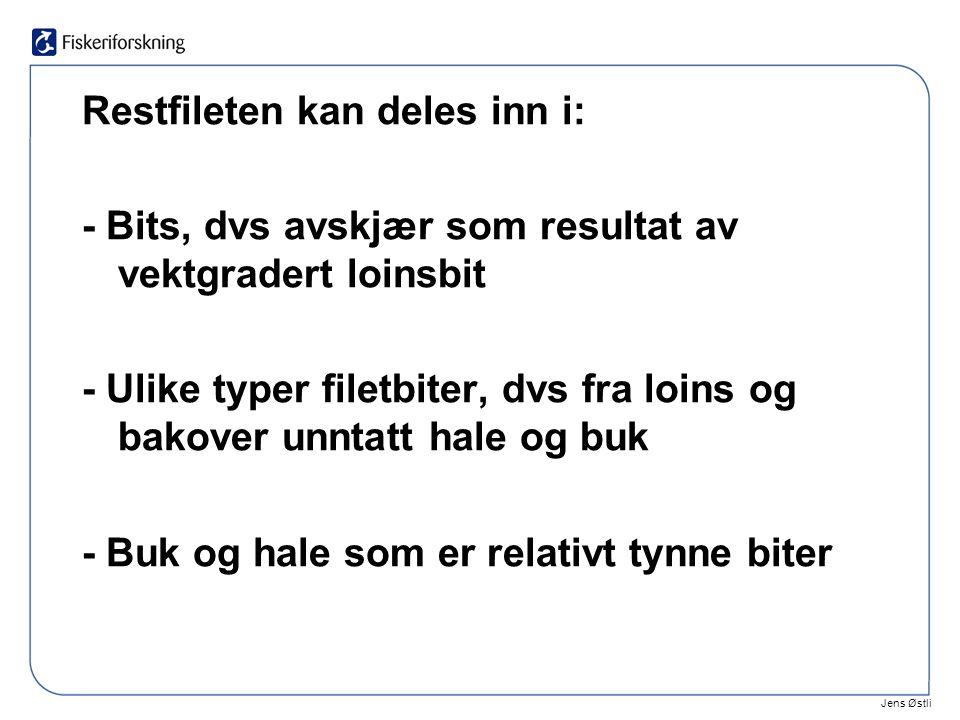 Jens Østli Restfileten kan deles inn i: - Bits, dvs avskjær som resultat av vektgradert loinsbit - Ulike typer filetbiter, dvs fra loins og bakover unntatt hale og buk - Buk og hale som er relativt tynne biter