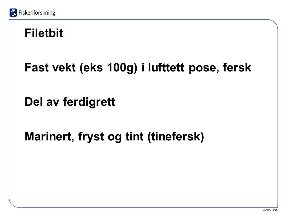 Jens Østli Filetbit Fast vekt (eks 100g) i lufttett pose, fersk Del av ferdigrett Marinert, fryst og tint (tinefersk)