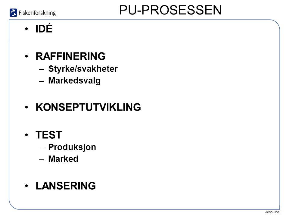 Jens Østli •IDÉ •RAFFINERING –Styrke/svakheter –Markedsvalg •KONSEPTUTVIKLING •TEST –Produksjon –Marked •LANSERING PU-PROSESSEN