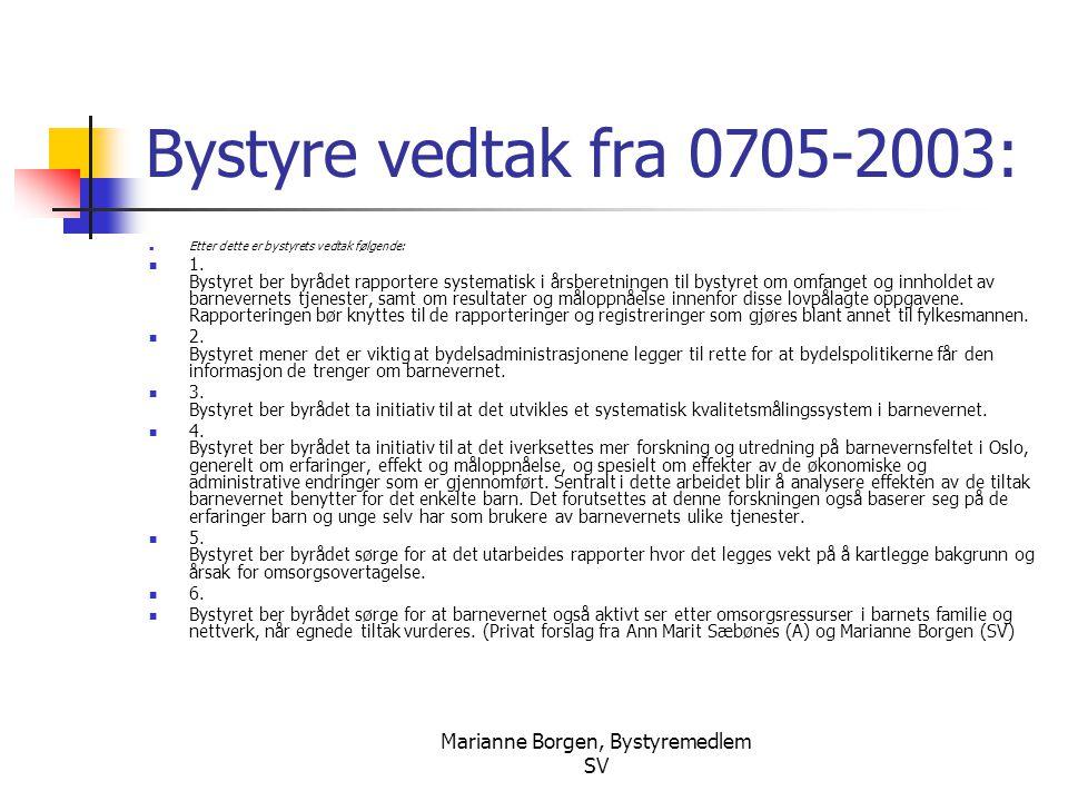 Marianne Borgen, Bystyremedlem SV Bystyre vedtak fra 0705-2003:  Etter dette er bystyrets vedtak følgende:  1. Bystyret ber byrådet rapportere syste