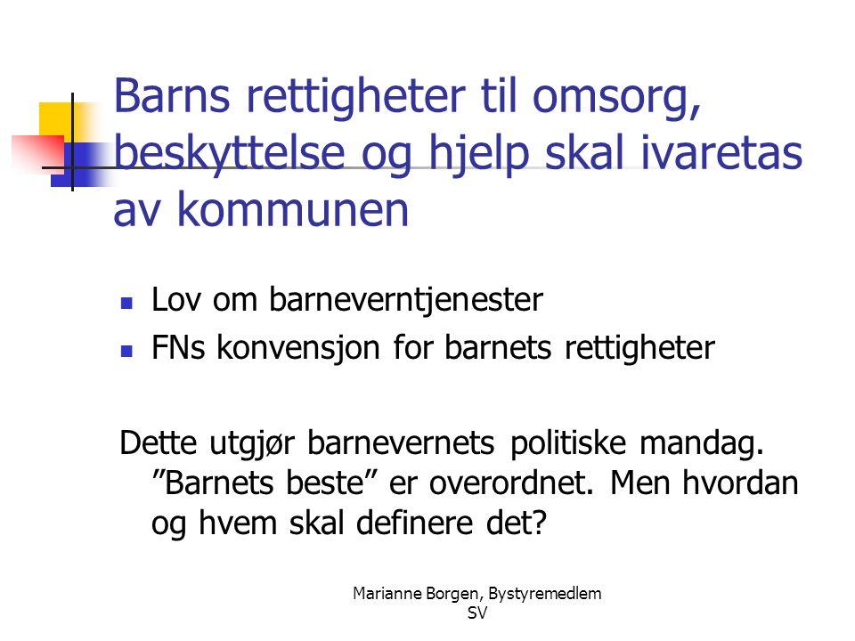 Marianne Borgen, Bystyremedlem SV Barns rettigheter til omsorg, beskyttelse og hjelp skal ivaretas av kommunen  Lov om barneverntjenester  FNs konve