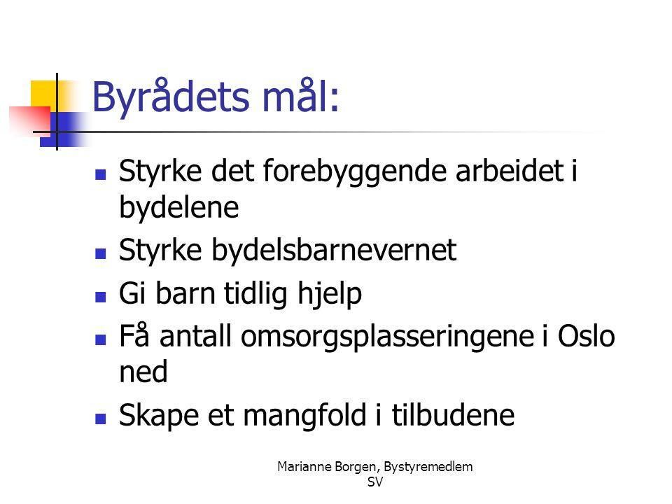 Marianne Borgen, Bystyremedlem SV Byrådets mål:  Styrke det forebyggende arbeidet i bydelene  Styrke bydelsbarnevernet  Gi barn tidlig hjelp  Få a