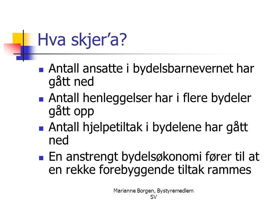 Marianne Borgen, Bystyremedlem SV Hva skjer'a: Fylkesmannens tall fra 2004:  Oslo:  Antall nye meldinger har økt fra 3189 i 2003 til 3292 i 2004, en økning på 3%.