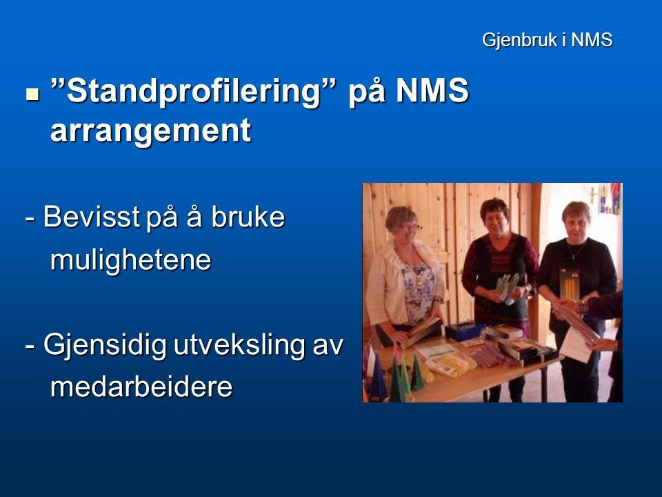 Gjenbruk i NMS Gjenbruk i NMS  Standprofilering på NMS arrangement - Bevisst på å bruke mulighetene - Gjensidig utveksling av medarbeidere