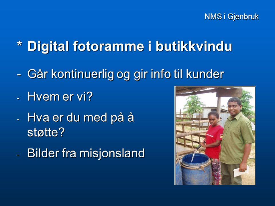 NMS i Gjenbruk NMS i Gjenbruk  Butikkmedarbeidere har eget misjonsprosjekt  Givertjeneste  Butikklotteri for NMS