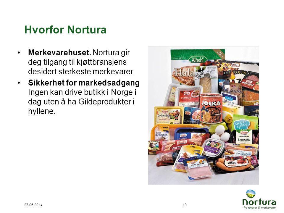27.06.201418 Hvorfor Nortura •Merkevarehuset. Nortura gir deg tilgang til kjøttbransjens desidert sterkeste merkevarer. •Sikkerhet for markedsadgang I