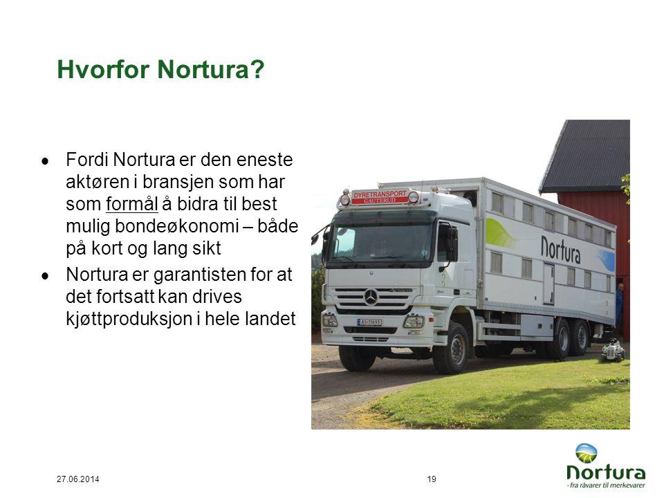 27.06.201419 Hvorfor Nortura?  Fordi Nortura er den eneste aktøren i bransjen som har som formål å bidra til best mulig bondeøkonomi – både på kort o