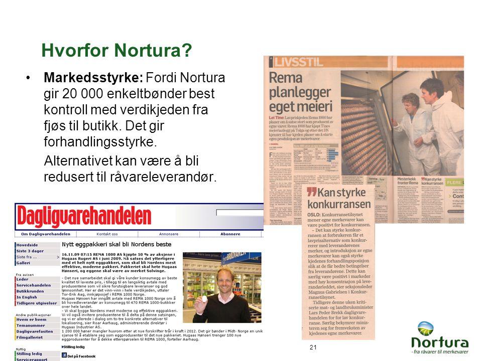 27.06.201421 Hvorfor Nortura? •Markedsstyrke: Fordi Nortura gir 20 000 enkeltbønder best kontroll med verdikjeden fra fjøs til butikk. Det gir forhand