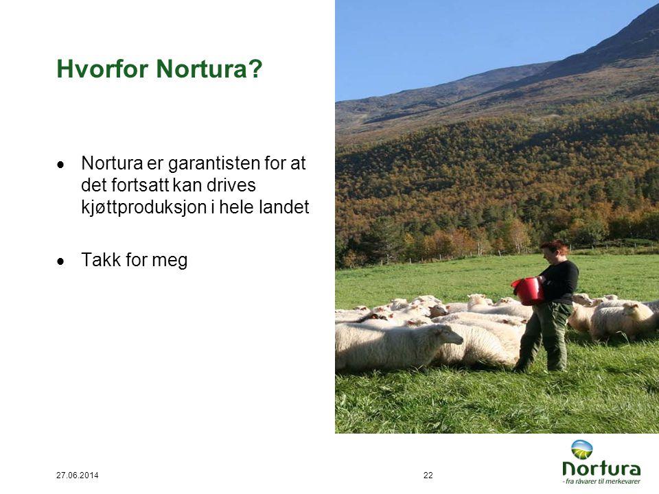 27.06.201422 Hvorfor Nortura?  Nortura er garantisten for at det fortsatt kan drives kjøttproduksjon i hele landet  Takk for meg