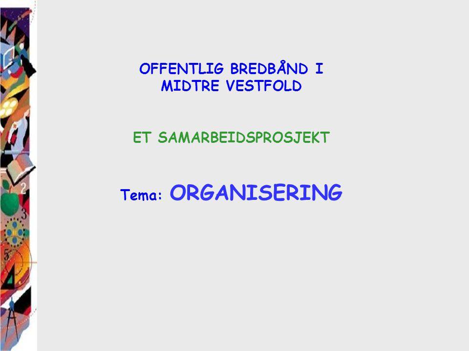 OFFENTLIG BREDBÅND I MIDTRE VESTFOLD ET SAMARBEIDSPROSJEKT Tema: ORGANISERING