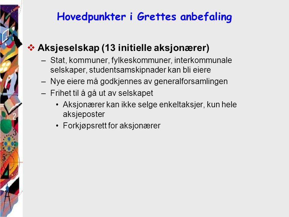 Hovedpunkter i Grettes anbefaling  Aksjeselskap (13 initielle aksjonærer) –Stat, kommuner, fylkeskommuner, interkommunale selskaper, studentsamskipna