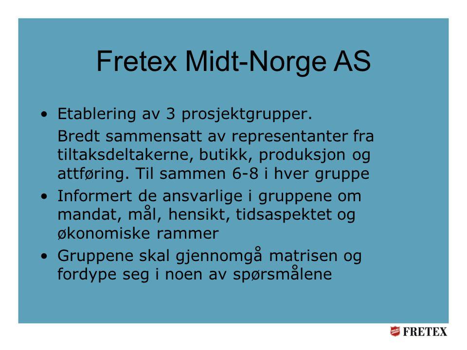 Fretex Midt-Norge AS •Etablering av 3 prosjektgrupper.
