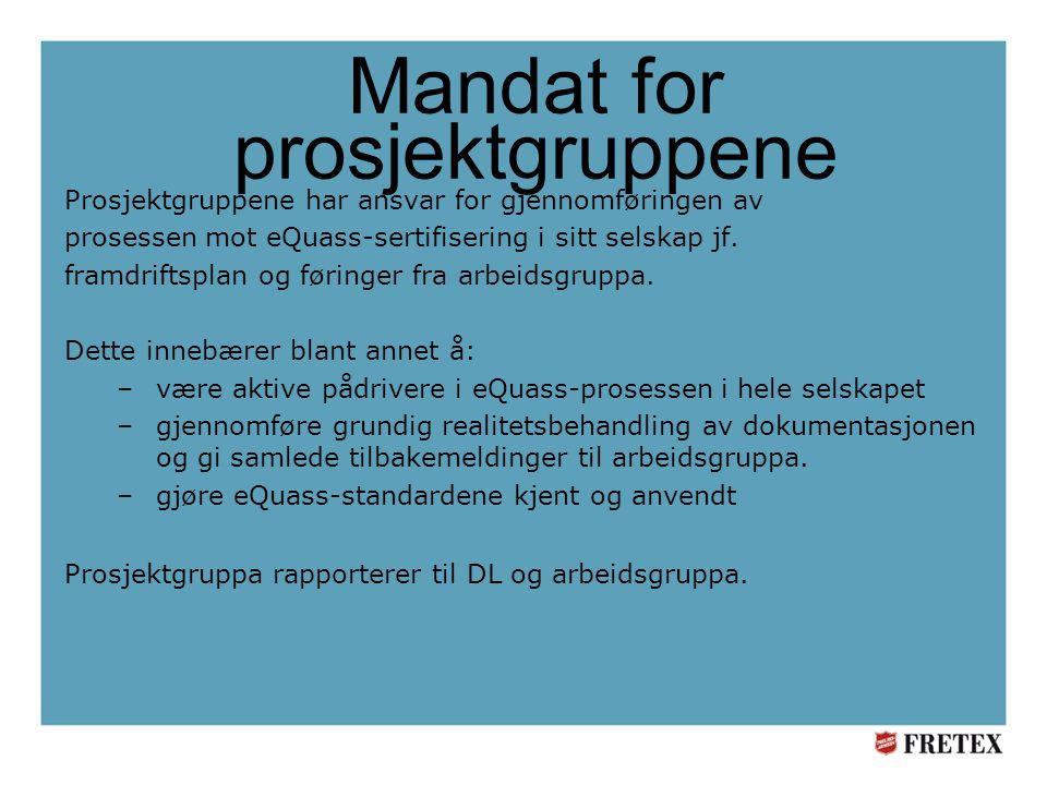 Mandat for prosjektgruppene Prosjektgruppene har ansvar for gjennomføringen av prosessen mot eQuass-sertifisering i sitt selskap jf.