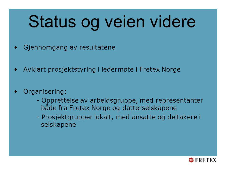 Status og veien videre •Gjennomgang av resultatene •Avklart prosjektstyring i ledermøte i Fretex Norge •Organisering: - Opprettelse av arbeidsgruppe, med representanter både fra Fretex Norge og datterselskapene - Prosjektgrupper lokalt, med ansatte og deltakere i selskapene