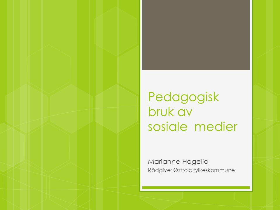 Pedagogisk bruk av sosiale medier Marianne Hagelia Rådgiver Østfold fylkeskommune