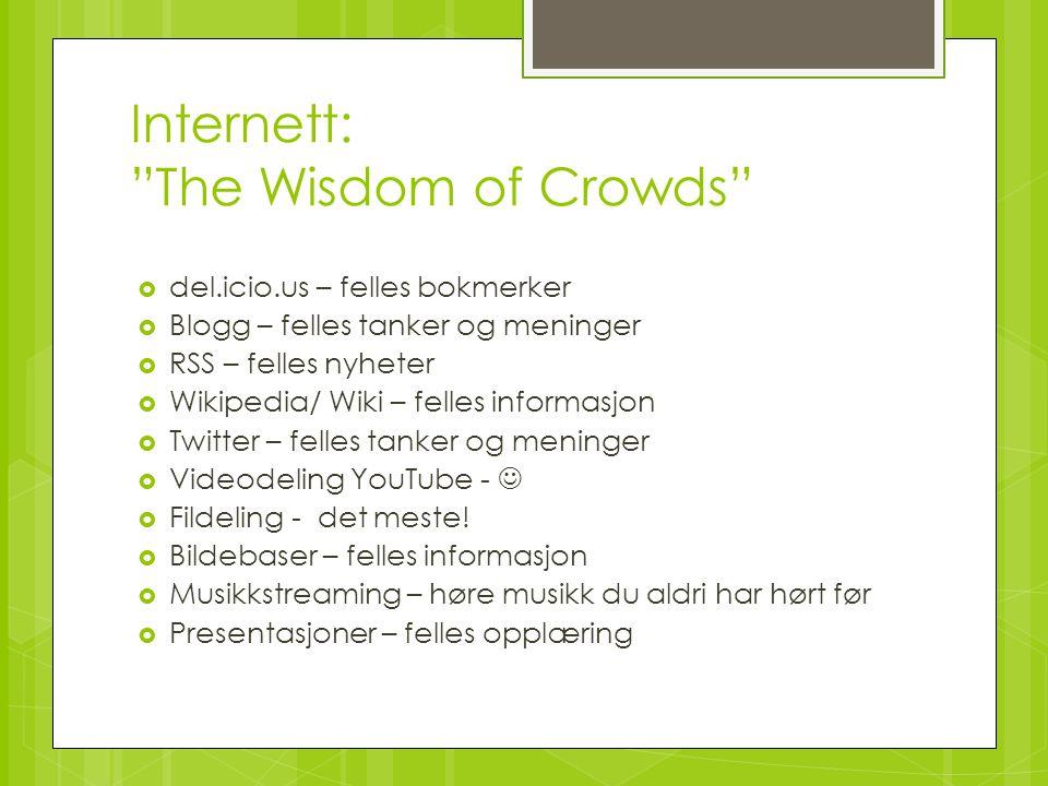 """Internett: """"The Wisdom of Crowds""""  del.icio.us – felles bokmerker  Blogg – felles tanker og meninger  RSS – felles nyheter  Wikipedia/ Wiki – fell"""