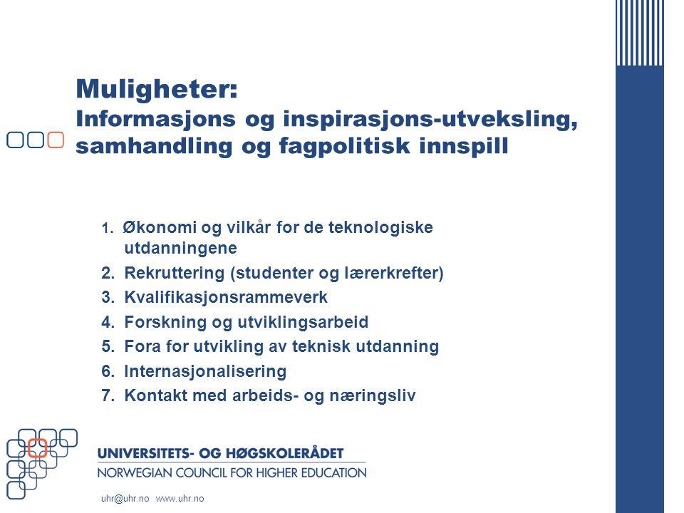 uhr@uhr.no www.uhr.no Muligheter: Informasjons og inspirasjons-utveksling, samhandling og fagpolitisk innspill 1.