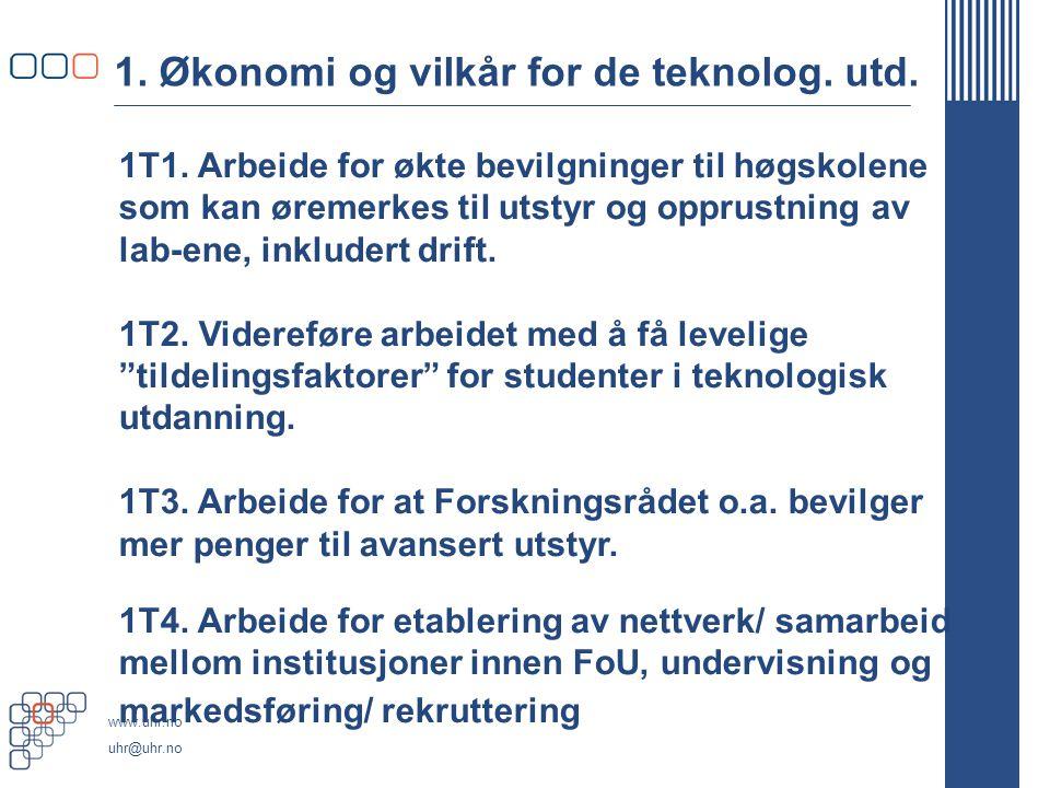 www.uhr.no uhr@uhr.no 1. Økonomi og vilkår for de teknolog.