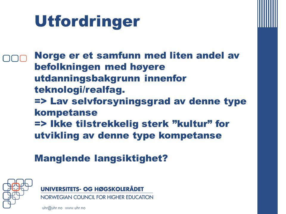 uhr@uhr.no www.uhr.no Utfordringer Norge er et samfunn med liten andel av befolkningen med høyere utdanningsbakgrunn innenfor teknologi/realfag.