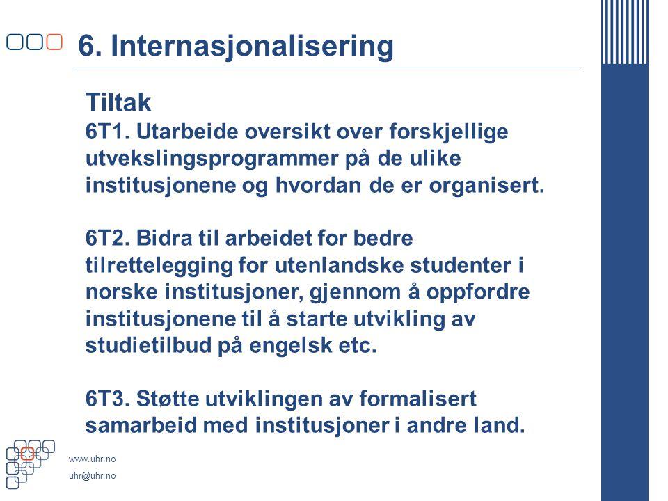 www.uhr.no uhr@uhr.no 6. Internasjonalisering Tiltak 6T1.