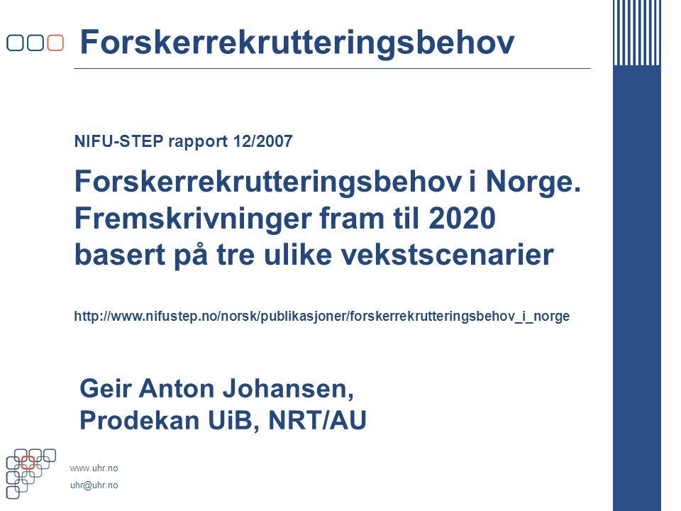 www.uhr.no uhr@uhr.no NIFU-STEP rapport 12/2007 Forskerrekrutteringsbehov Forskerrekrutteringsbehov i Norge.