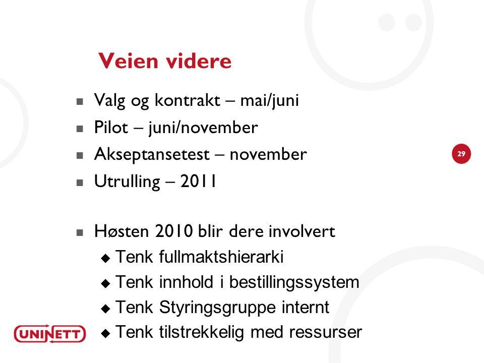 29 Veien videre  Valg og kontrakt – mai/juni  Pilot – juni/november  Akseptansetest – november  Utrulling – 2011  Høsten 2010 blir dere involvert