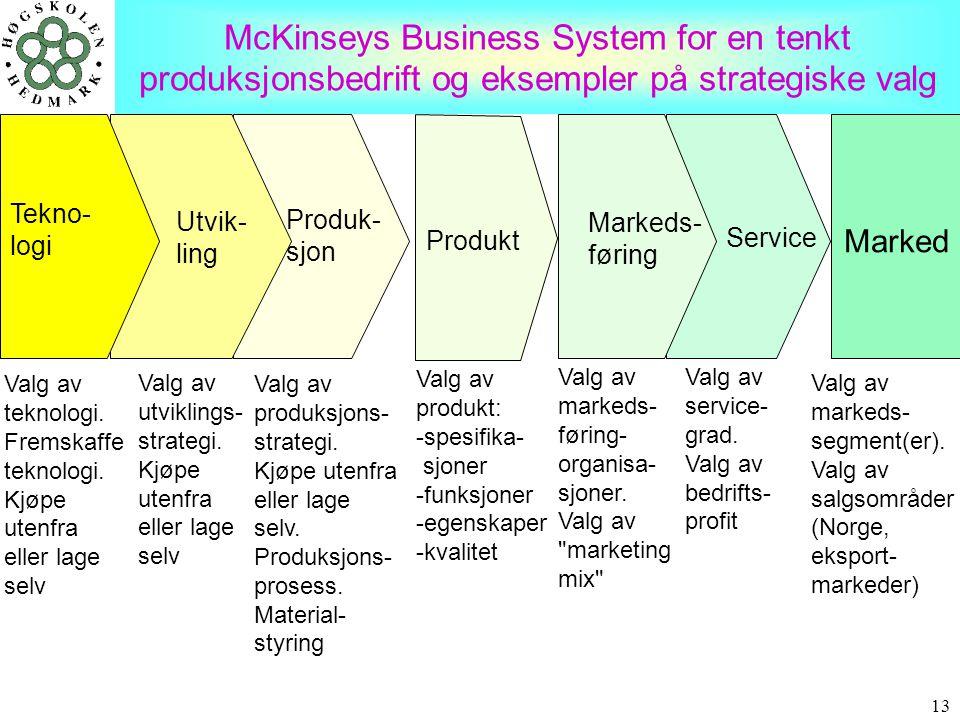 13 McKinseys Business System for en tenkt produksjonsbedrift og eksempler på strategiske valg Valg av teknologi. Fremskaffe teknologi. Kjøpe utenfra e