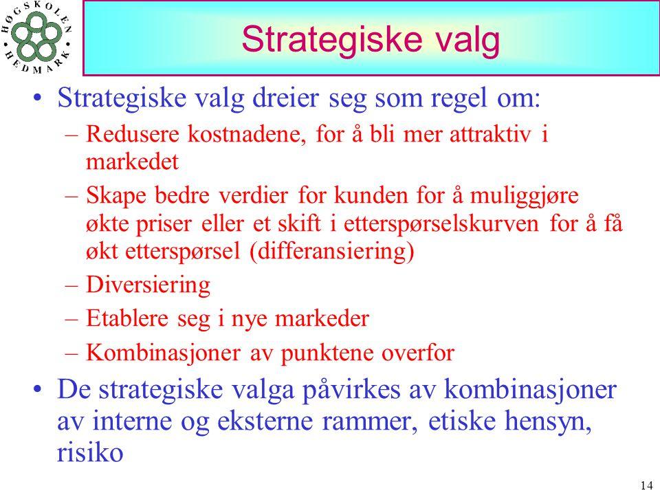 14 Strategiske valg •Strategiske valg dreier seg som regel om: –Redusere kostnadene, for å bli mer attraktiv i markedet –Skape bedre verdier for kunde